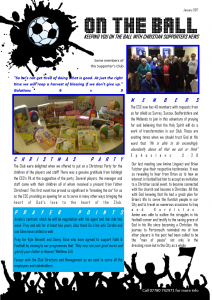 Faith & Football Christian Supporters Member News Letter